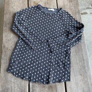 Zara Gray White Polka Dot Knit Tunic Pockets 9 10
